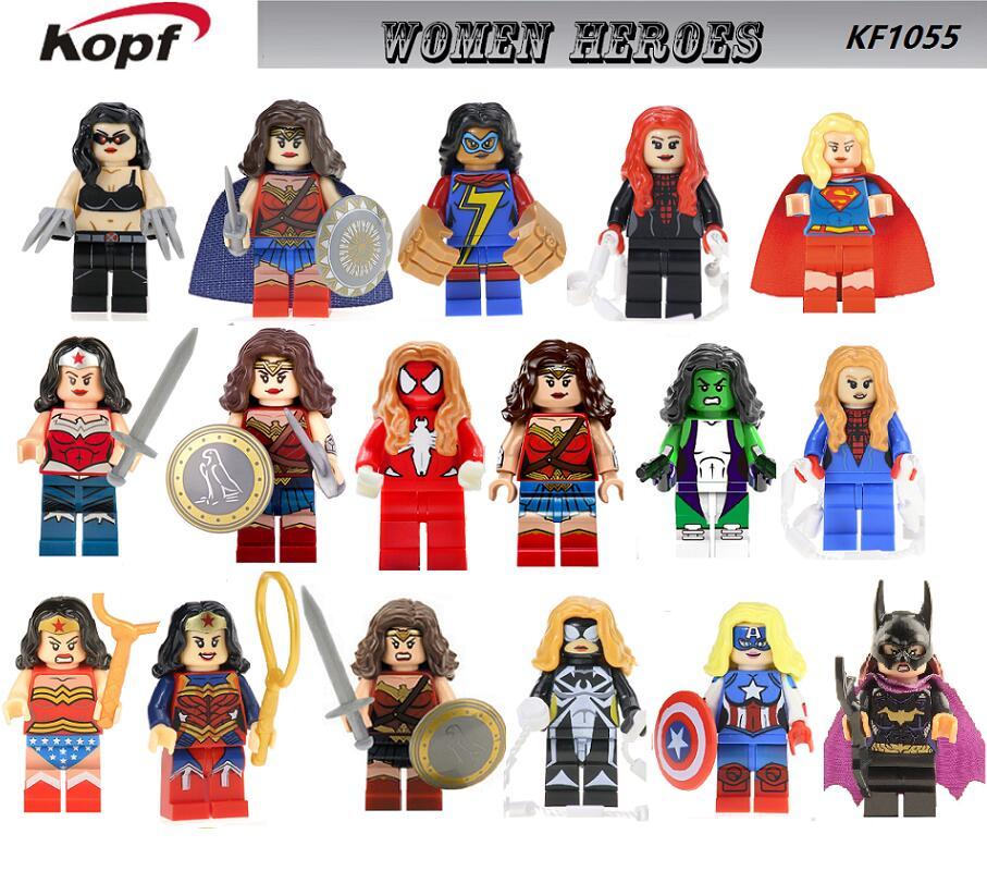 Single Sale Building Blocks Super Heroes Bricks Wonder Woman Spider-Woman Hulk Captain America Figures For Children Toys KF1055