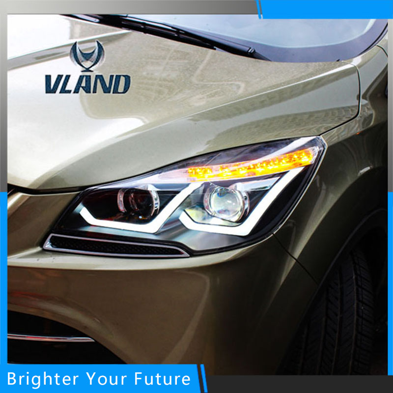 Car Lamp For Ford Kuga 2013 2014 2015 Headlight Headlamp Assembly car rear trunk security shield shade cargo cover for ford kuga escape 2013 2014 2015 2016 black beige