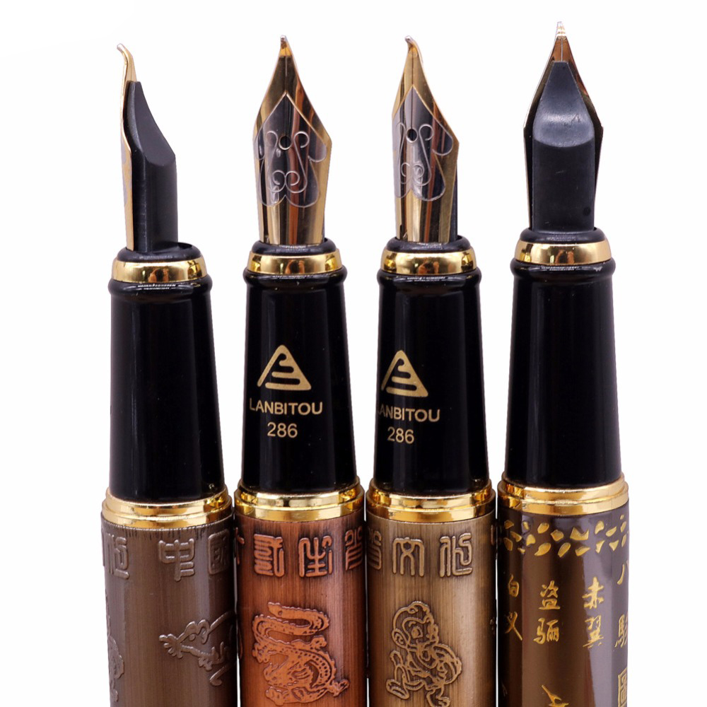 Fountain Pen Wholesale Holy Glyph Bend Relief Calligraphy Art Pen Calligraphy Pen The Gifts Were Two Nib Extra Two Pen Tips