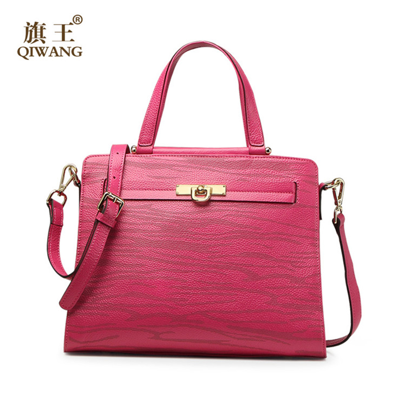 QIWANG Real Leather Women Handbag Luxury Purse Striped Rose Red Women Tote Bag for Women Fashion leather Bag on Clearance qiwang brand women bag genuine leather women shopping tote bag can change shape real leather handbag for women luxury