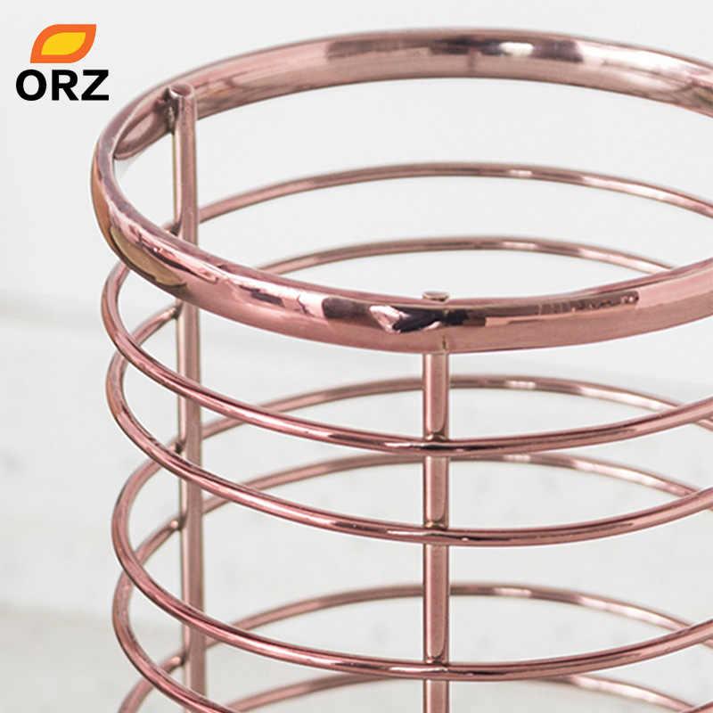 ORZ Ouro Rosa Titular Utensílio de Cozinha Organizador De Armazenamento Caixa de Pauzinhos de Metal Container Caixa De Armazenamento Do Banheiro Cesta de Artigos Diversos