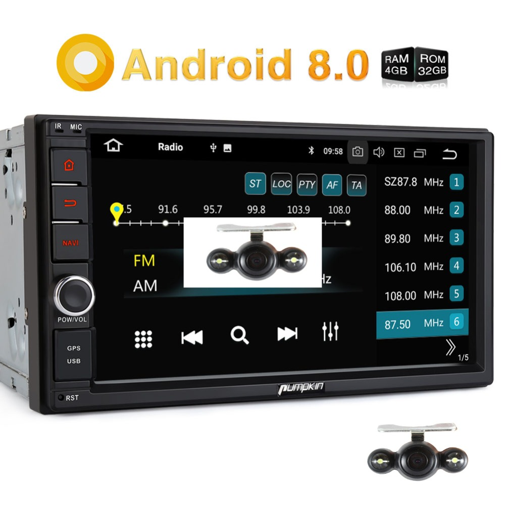 Pumpkin Octa Core Android 8.0 Car Radio 2 Din 7'' Universal Car Stereo GPS 4GB RAM 32GB ROM Wifi 4G Radio Audio Player NO DVD android 7 1 double din car stereo car gps navigation 7 car radio head unit bt wifi swc octa core 2gb 32gb rom am fm 4g dongle