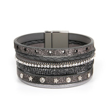 ZG Fashion Female Handmade Multilayer Leather Wristband Bracelet for Woman in 5 colors