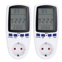 2 PCS Electric Energy Reading Socket Digital Wattmeter Power Analyzer EU Plug Two Pieces Monitor Automatic Power Switch