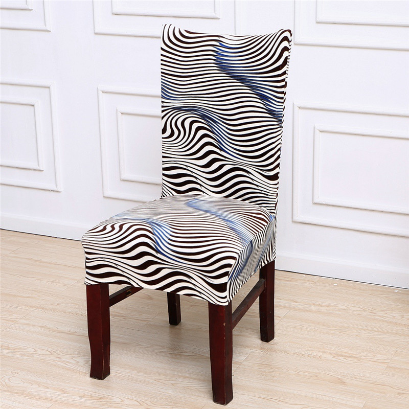 Especial Zebra-Stripe Chicken Dining Room Chair Cover Spandex Wedding Seat Covers Stretch Elastic Slipcovers housse de chaise
