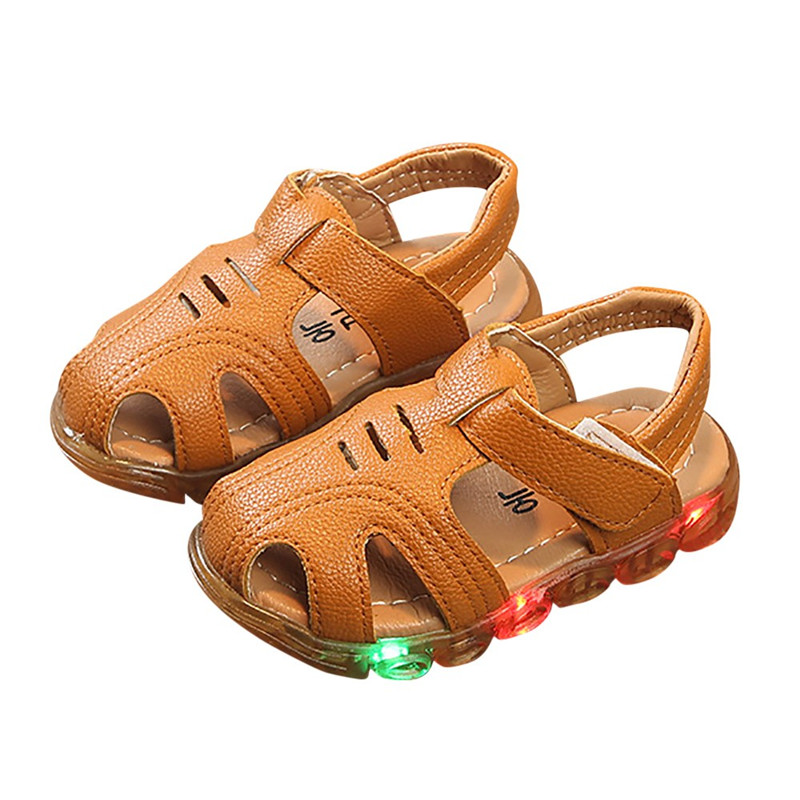 Boys Sandals Expressive Telotuny 2018 Baby Shoes Summer Kid Boys Led Light Soft Leather Non-slip Luminous Outdoor Sandals Shoes Good Heat Preservation