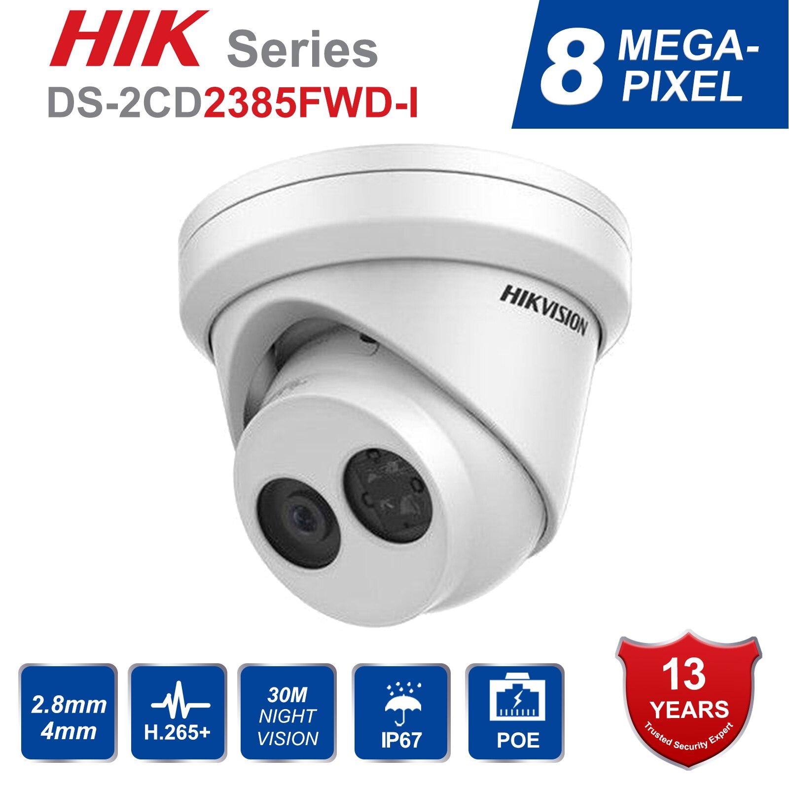 HIK Anglais version DS-2CD2385FWD-I 8MP mini réseau tourelle CCTV caméra de sécurité POE 30 M IR H 265 dôme ip caméra