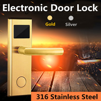 Digital Card Key Gold/Silver Unlock Hotel Door Lock Stainless Steel Intelligent RFID System Anti rust Anti corrosion Static