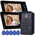 "7"" Color Video Door Phone Doorbell Camera Video Intercom 2 Monitors RFID Access Control System&5 ID Card for Apartment F4362A"