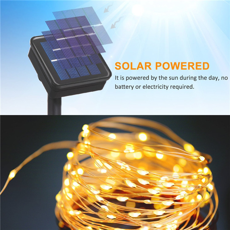Led solar light outdoor 12M 100Leds solar lights for garden decoration IP65 waterproof solar lamp blue/red/Green/Pink/warmwhite