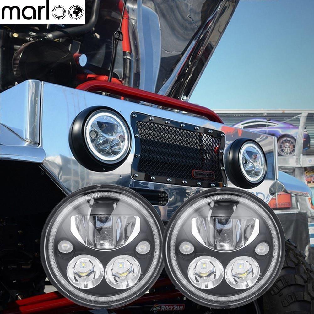 Marloo 7 Round Vortex LED Headlight with Low High Halo Ring For Jeep Wrangler Land Rover Hummer коврик напольный vortex вологодский 20092