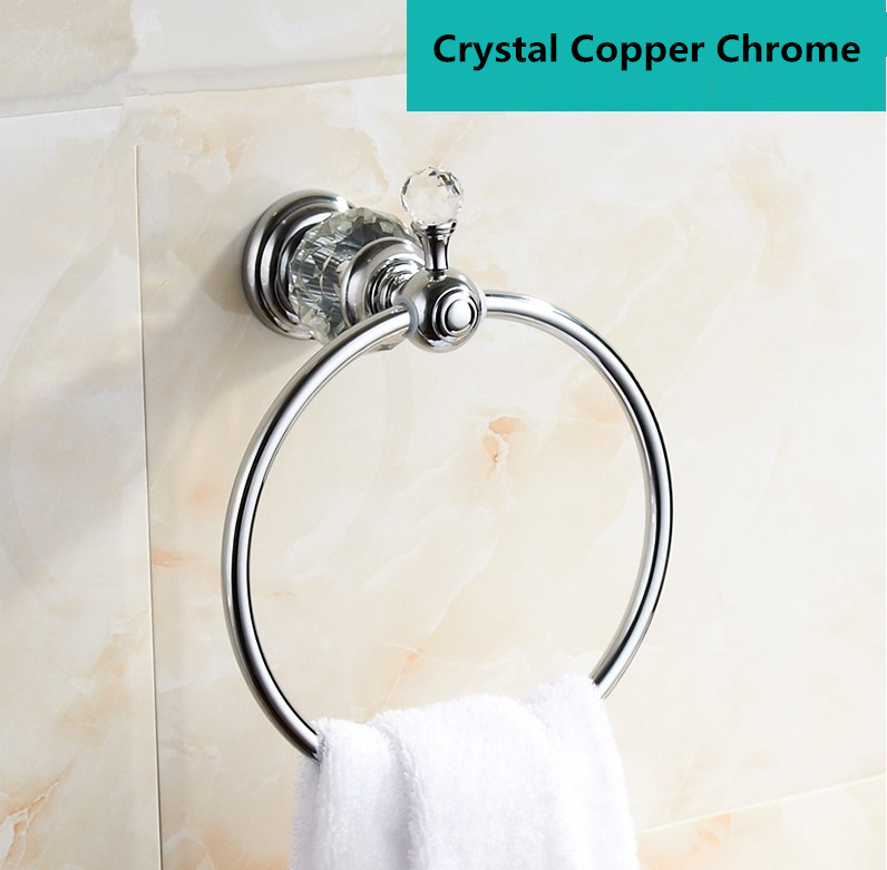 ФОТО Free Shipping Bathroom Accessories,Modern Crystal Brass Chrome Finish Towel Ring Holder&Towel Bar/Copper Creative  Design