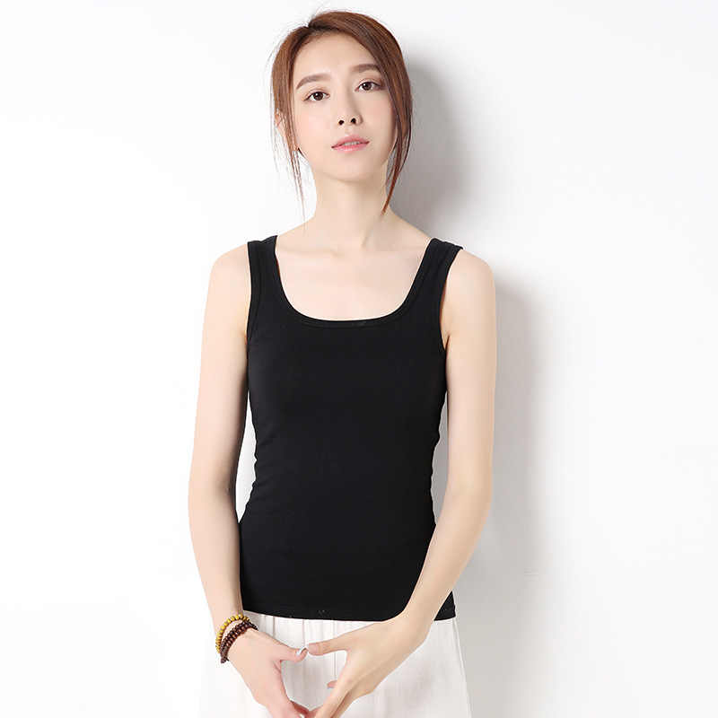 4dc61bfb1ccb92 ... GOPLUS Fashion Cotton White Tank Top Women Sexy Spring Sleeveless Basic  Vest Lady Casual Elastic Camisole ...