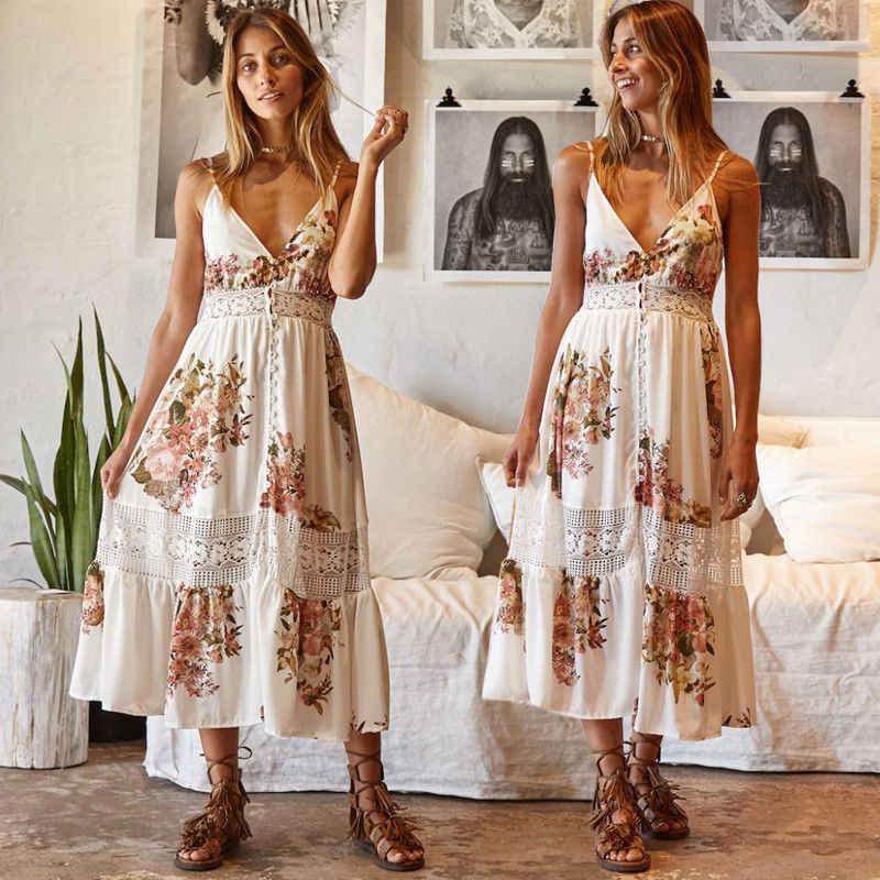 Модные повседневные летние женские платья, платья без рукавов, бохо, Цветочное платье, вечерние пляжные милые платья, сарафан