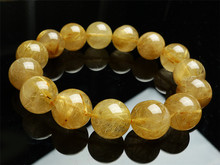 цена на 15mm Genuine Natural Gold Rutilated Quartz Bracelets For Women Men Stretch Crystal Round Bead Bracelet