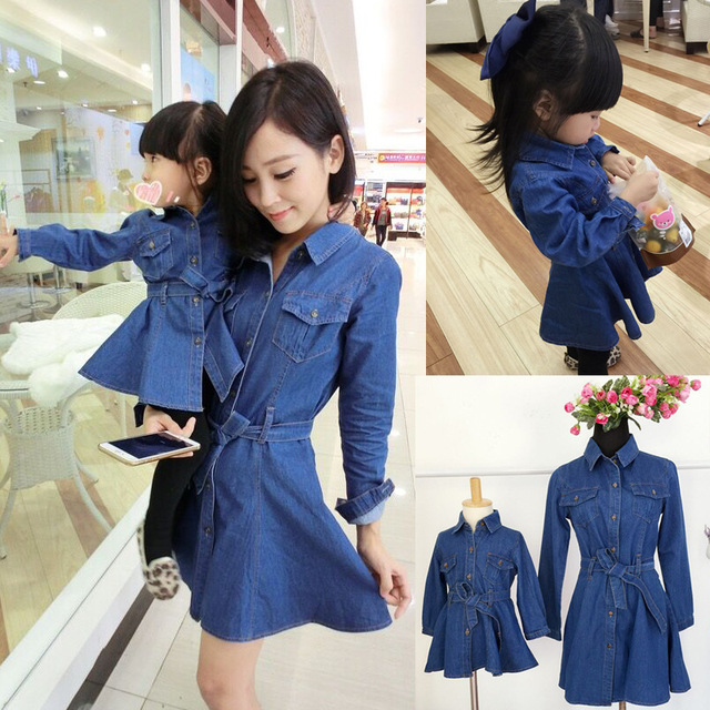 2016 spring autumn Family Pack Family fitted mother and girl dress,denim slim long-sleeved princess dress,mom and daughter cloth