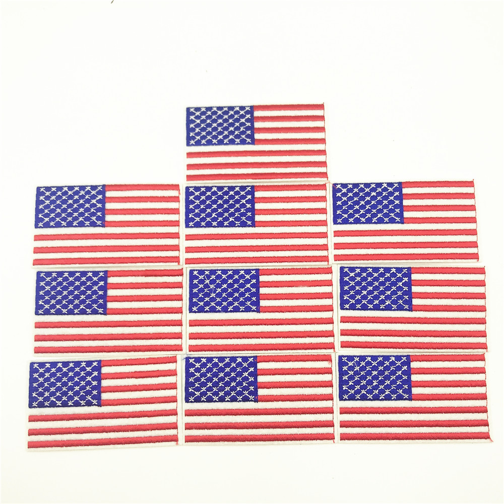10pcs 4 5 8 0cm USA American US United States Flag Embroidered Patches Clothing Appliques Iron On Embroidered Badge Sticker in Patches from Home Garden