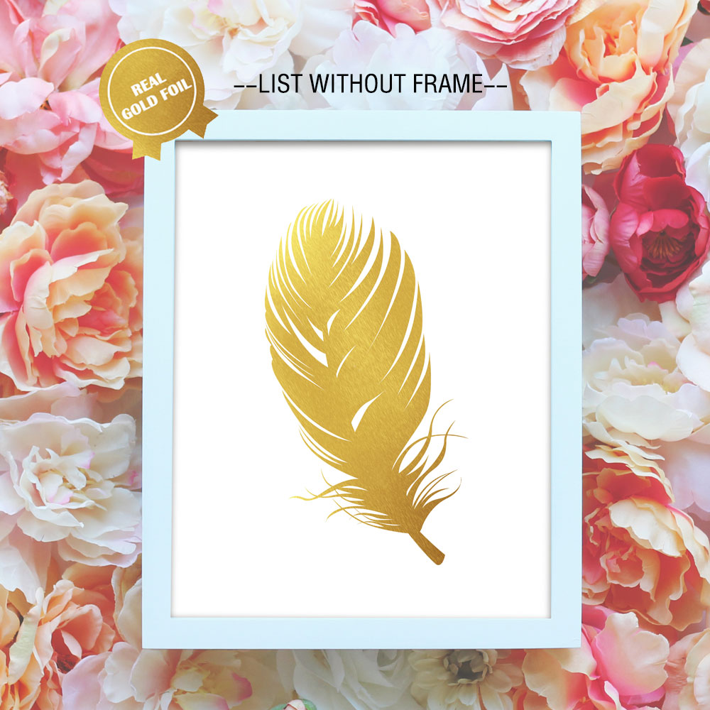 Beautiful Feathers Gold Foil Art Paper Modren Wall Art for Golden ...