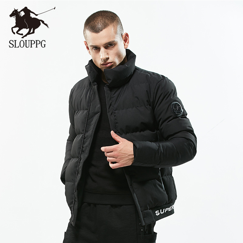 SLOUPPG New wear Windproof Fashion Winter Fashion Casual   Parka   Medium-Long Winter Jacket Men For Warm Coat Man Thickening