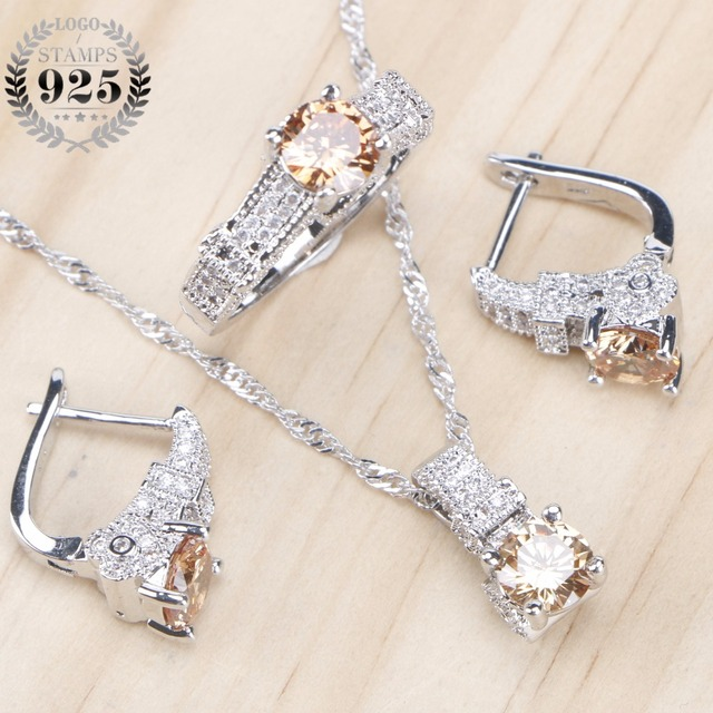 Bridal Zirconia Stone Wedding 925 Sterling Silver Jewelry With Ring Pendant Necklace Set