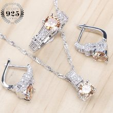 Bridal Jewelry Sets Zirconia Stone Earrings For Women Wedding 925 Sterling Silver Jewelry With Ring Pendant Necklace Set(China)