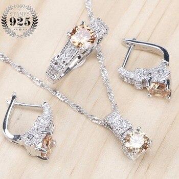 e2270e628a39 Conjunto de joyería nupcial de Zirconia con pendientes de piedra para mujer  boda 925 joyería de plata de ley con anillo colgante collar conjunto