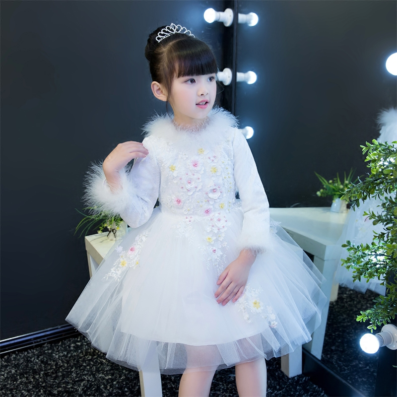 2017 New Arrival High Quality Children Girls Flowers Princess Party Dress Kids Babies Winter Warm White Color Beading Lace Dress free shipping new arrival children s clothing child one piece dress twinset winter dress good quality coat dress