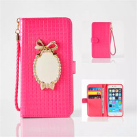 Luxury Gorgeous Grid Lines With Mirror Wallet Leather Holster Case For Iphone 7 7 Plus 6