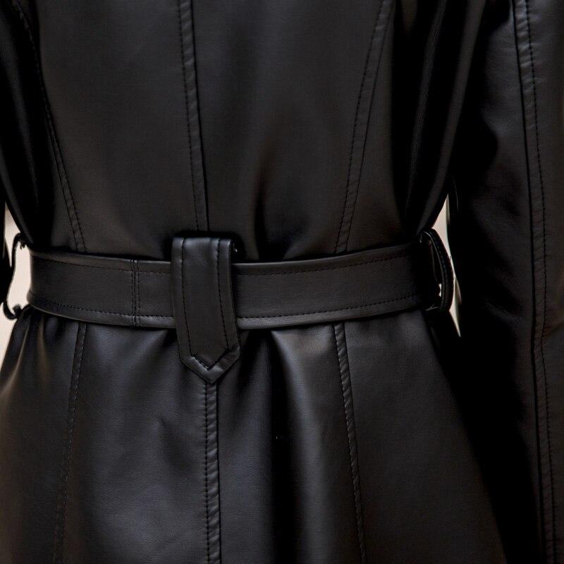 Cuir vent khaki 2017 Solide Plus Imperméable Coupe L Femmes Velours D'hiver Pu De En Veste Chaud Black Épais Moto 5xl Slim Manteau rZXgpZ1w