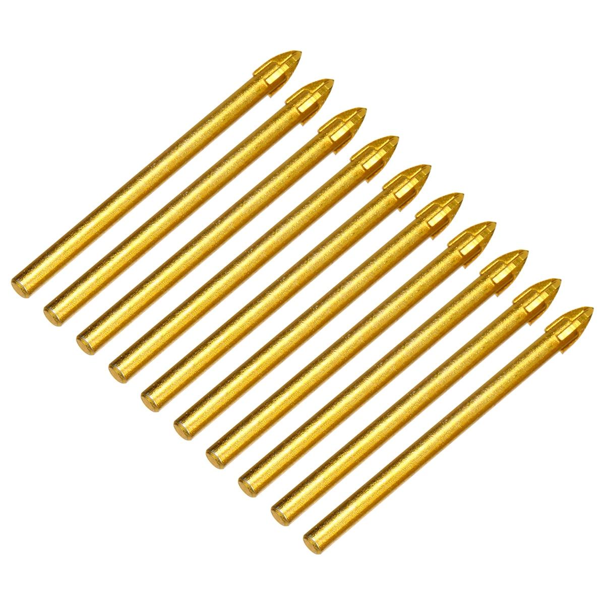 10pcs Titanium Ceramic Glass Drill Bit Tungsten Carbide Cross Spear Head Drilling Tools 6mm For Metal Plastic Tile Cement