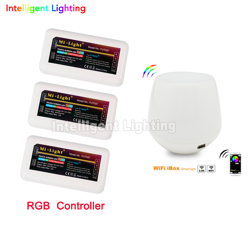 Free shipping 2.4G 4 zone groups 1x Wifi+3 x LED RGB Controller Wifi wireless Mi Light for 5050 3528 RGB LED Strip dimmable 2 4g mi light touch wifi wireless 2x rgb led controller 4 zone groups control for rgb 5050 3528 led strip light