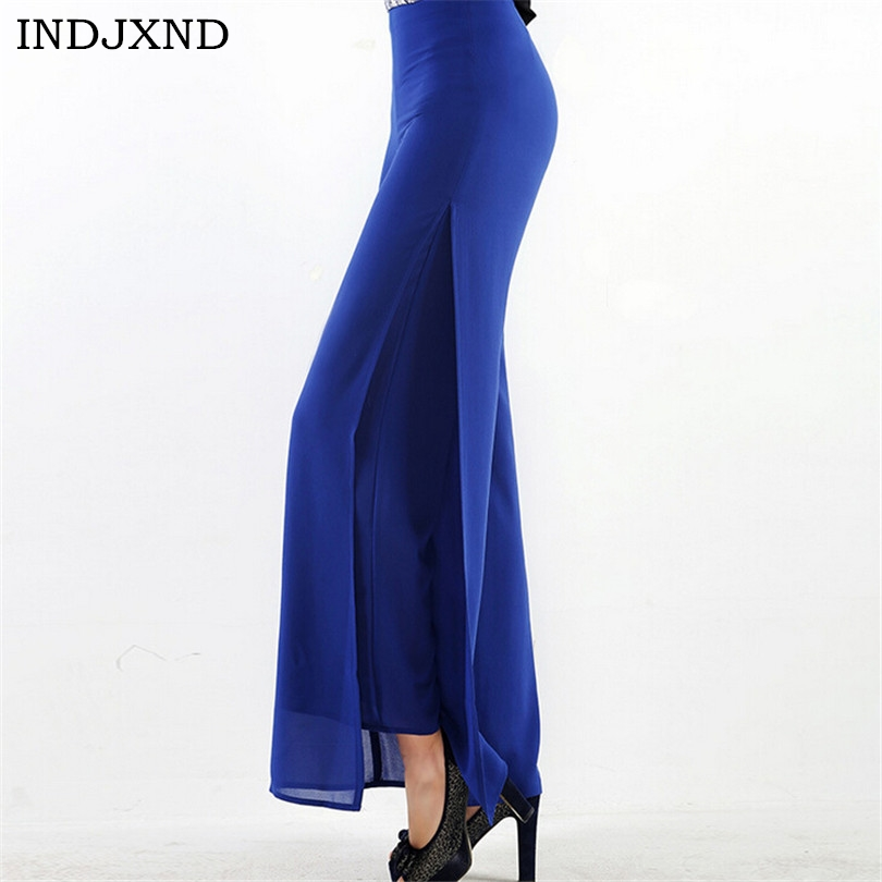 2017 Fashion Woman Wide Leg Pant High Waist Pants Chiffon Baggy Pants Women Double Layer Long Pant OL Female Trousers Side Open