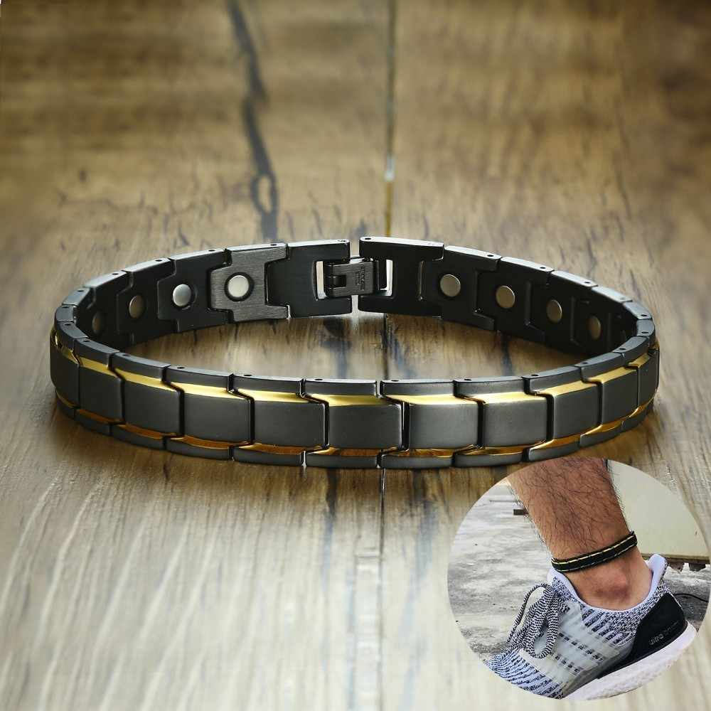 Erkek manyetik terapi halhal 316L paslanmaz çelik erkek takı şifa mıknatıslar artrit ağrı kesici
