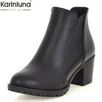 KarinLuna 2018 new fashion black white shoes woman boots platform chunky heels elastic band wholesale Ankle Boots woman shoes