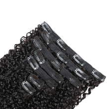 Indian Afro Kinky Curly Weave Remy Hair Clip In Human Hair Extensions Natural Color Full Head 7Pcs/Set 120G Ship Free