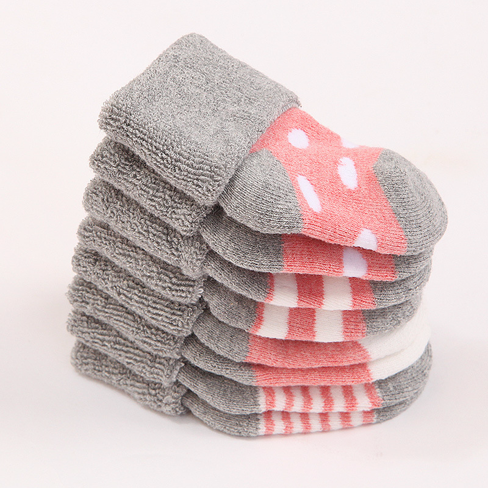 0 1 years Autumn and winter terry thick baby socks Children 39 s combed cotton boneless tube baby newborn cotton 8 pieces lot in Foot Socks from Mother amp Kids