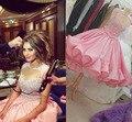 Pink Myriam Fare Dress Real Image Ball Gown Celebrity Dresses Vestido de fiesta Taffeta Sheer Neck Tea Length Short Prom Dresses