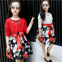 Girl Dress Princess Knitted Skirt Children Clothing Printed Floret Pearl Necklace Costume Kid S Party Dress