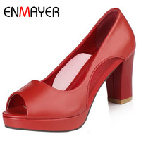 ENMAYERW PU Material Women Pumps Shoes Slip On Peep Toe Square Heels Solid Large Size 34