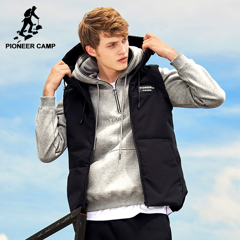 Pioneer Camp autumn winter vest for men zipper sleeveless jacket male hooded Cotton-Padded waistcoat AMF705168