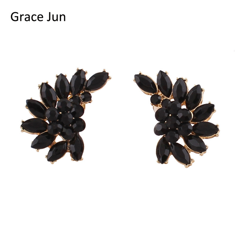 Grace Jun 2017 New Vintage Black Crystal Wing Shape Clip on Earrings No Pierced for Women Party Wedding Ear Clip Christmas Gift