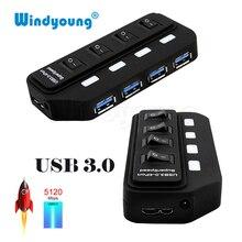 Windyoung USB 3,0 хаб USB-A до 4 Порты и разъёмы USB3.0 с светодио дный на/выключения очень DC 5 V Питание USB разветвитель адаптер для ПК Мышь