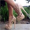 Desnudo/Blanco Plataforma Thin Tacones Altos Gladiador Zapatos de Las Mujeres Gruesas Correas de la Hebilla Del Dedo Del Pie Abierto Sandalias de Moda Para Mujer Real imagen