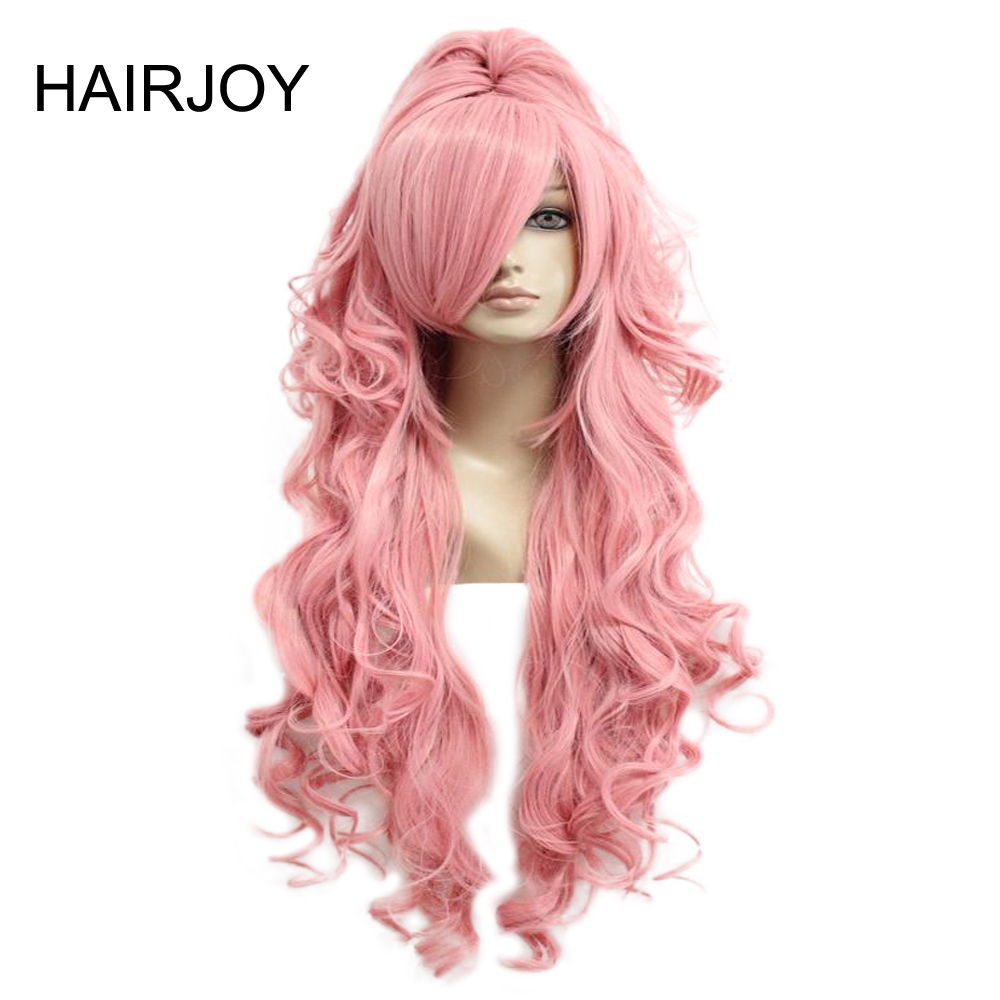 HAIRJOY Synthetic Hair Vocaloid Luka  Cosplay Wig Pink Red Curly Wigs with Ponytail  Free Shipping 1