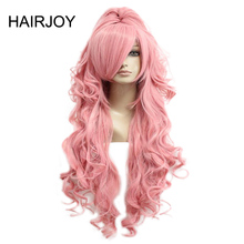 HAIRJOY Pink Red Cosplay Wig Synthetic Hair Women 90cm Long Wavy Costume Wigs with Ponytail 2 Colors Available Free Shipping