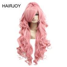 HAIRJOY الشعر الاصطناعية فوكالويد لوكا شعر مستعار تأثيري الوردي الأحمر مجعد الباروكات مع ذيل حصان شحن مجاني