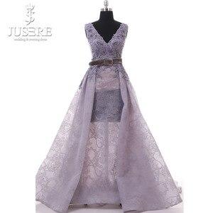 Image 3 - Jusere Encaje Vintage de lavanda con cuentas Sexy una línea vestido de fiesta hecho A mano de encaje rebordear púrpura vestido de noche Hajab 2019
