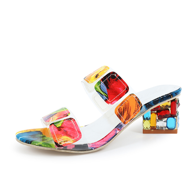 2019 New Summer Women Multi Colors Sandals Fashion High Heels Open Toe Beach Flip Flops Ladies Crystal Heels Shoes Woman XWT1893 1