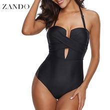 цены на Zando Sex Bandage Swimwear Women Sling Backless One Piece Slim Swimsuit Cut Out Mnokini Bathing Suit Plus Size Swimwear S-XXXL  в интернет-магазинах
