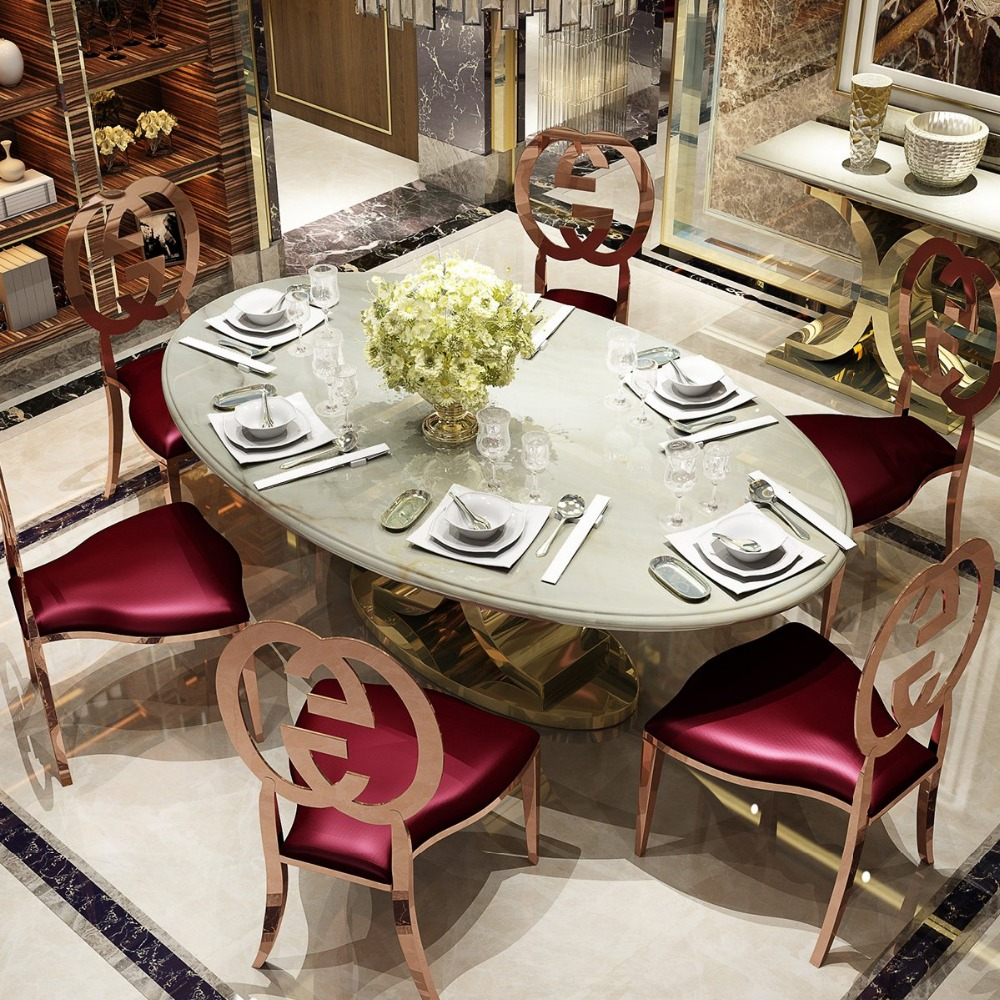 Awesome Rama Dymasty Stainless Steel Dining Room Set Home Furniture Minimalist Modern Marble Dining Table And Chairs Download Free Architecture Designs Lukepmadebymaigaardcom